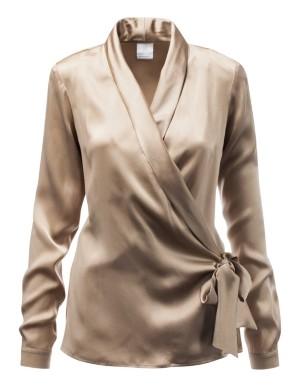 Sleek silk wrap-around blouse