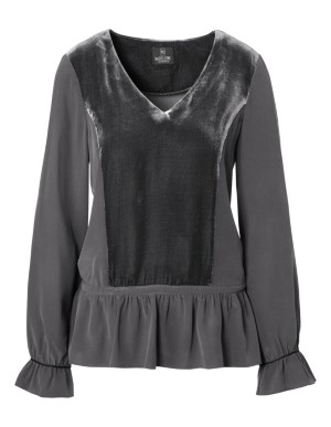 Blouson top with lace-up peplum and flounce sleeves