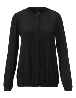 Silk blouson-style blouse with elasticated hem