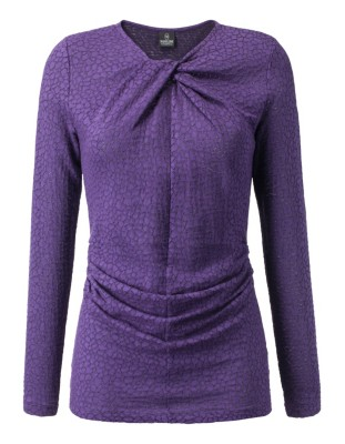 Devoré top with knot-effect neckline and gathered side seam