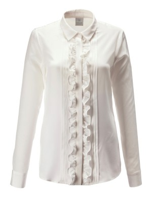 Pleat and ruffle detail silk shirt