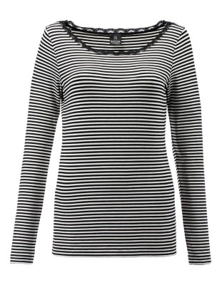 Striped shirt with lace insert
