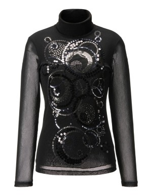 Sequin-adorned roll-neck top