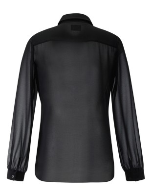 Semi-sheer, flounce detail shirt