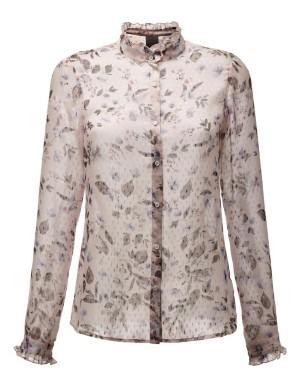Semi-sheer ruffle detail blouse