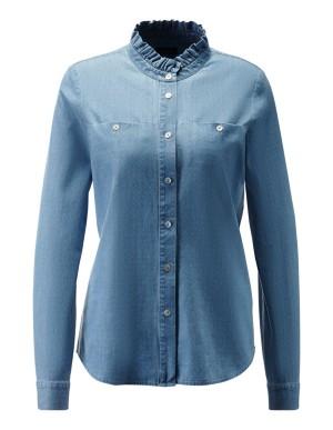 Ruffle detail denim shirt