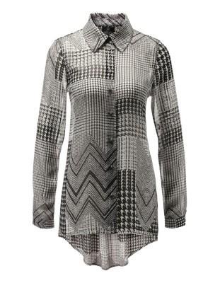 Semi-sheer mixed pattern shirt