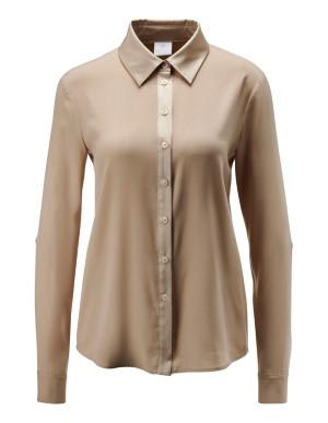 Silk blouse with matt and gloss effect