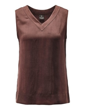 Sand-washed silk top with cord neckline detail