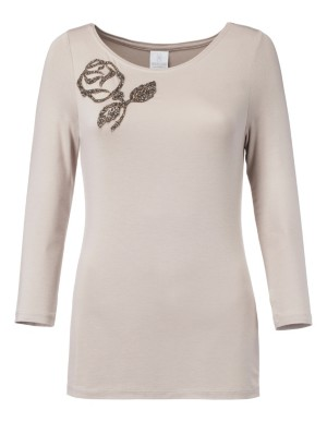 Top with rose-shaped bead appliqué