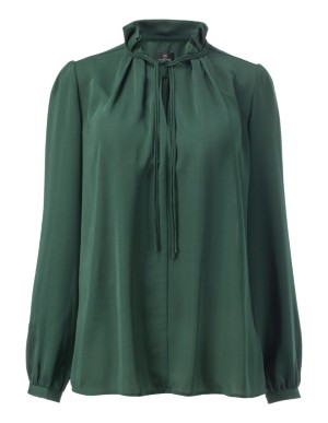 Loose-fit blouse with ruffled shoulders