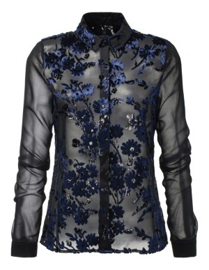 Transparent floral devoré blouse