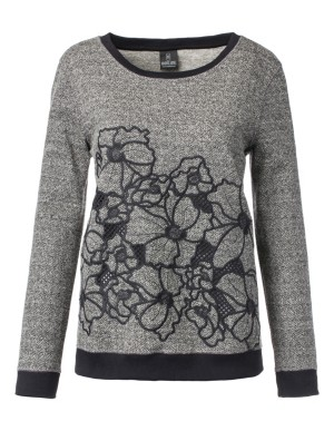 Tweed and embroidered floral jumper