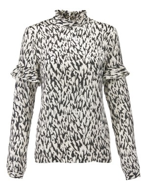 Long-sleeved, graphic print blouse