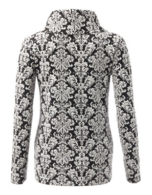Long-sleeved, textured stretch jersey top in contrasting print