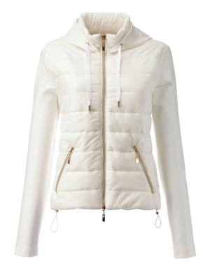 Hooded mix material jacket