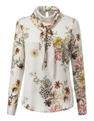 Floral blouse with scarf tie