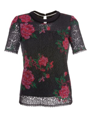 Short-sleeved, floral laced blouson top