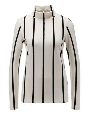 Fitted striped roll-neck top