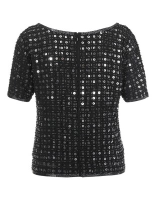 Hand-stitched sequin top