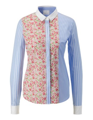 Floral and striped cotton shirt