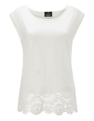 Sleeveless top with lace border