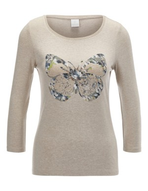 Butterfly print top with strass