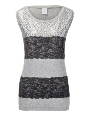 Sleeveless top with sequins and lace