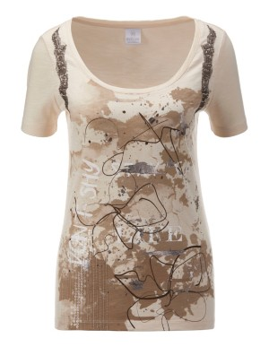 Sequined top with print