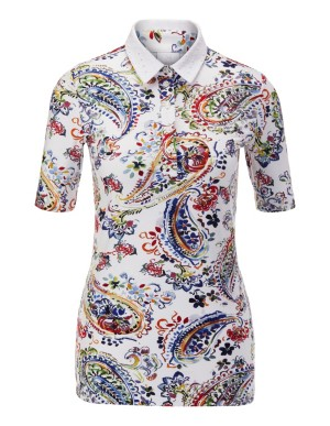 Paisley polo shirt with contrasting collar