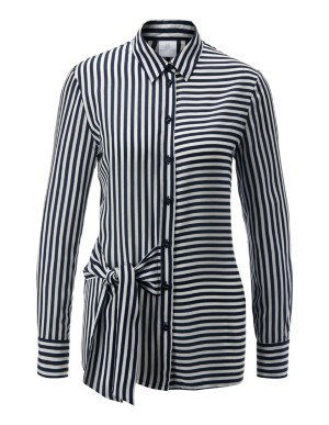 Striped shirt with tie ribbon