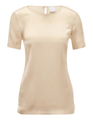 Short-sleeved silk top with side vents
