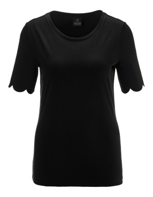 Cotton top with scalloped-edge sleeves