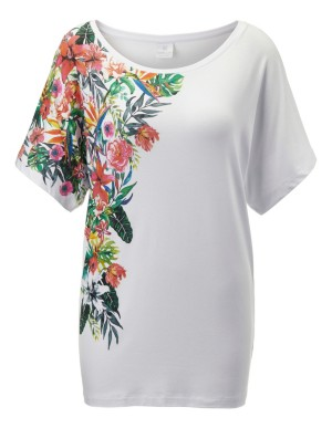 Floral top with dropped shoulders
