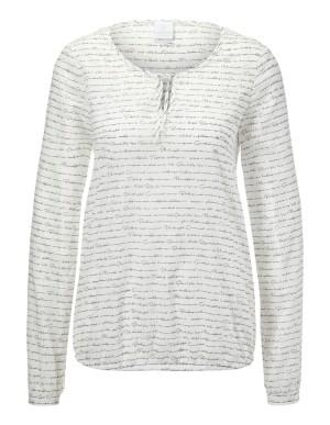Slit-neckline blouse with original stripes