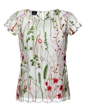Short-sleeved blouson top, two-part