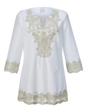A-shaped tunic with lace detail