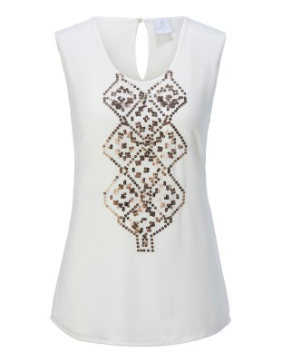 Chiffon top with sparkling sequin motif