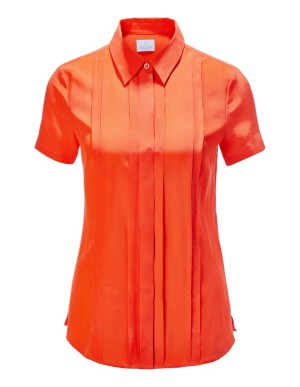 Short sleeve pintuck blouse