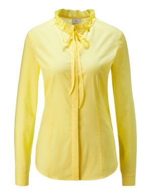 Blouse with bow tie collar and roll-tab sleeves