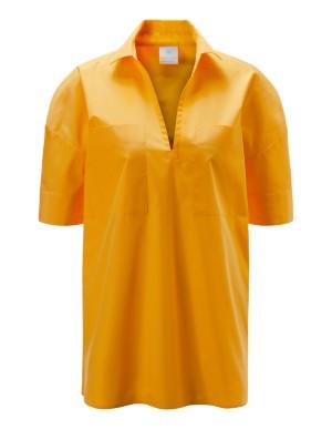 V-neckline cotton blouse