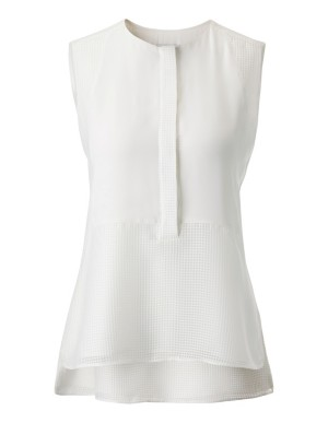 Sleeveless layered-look blouse with mesh detailing