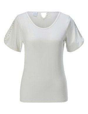 Top with embellished cut-out sleeves