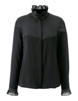 Silk blouse with plissé detail