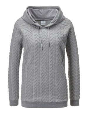 Hooded cable-knit leisure top