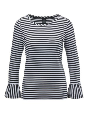 Striped top with sleeve flounces