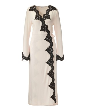 Dressing gown with contrasting lace trim