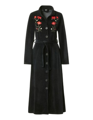 Embroidered floral velour dressing gown