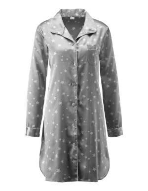 Star-patterned satin nightshirt