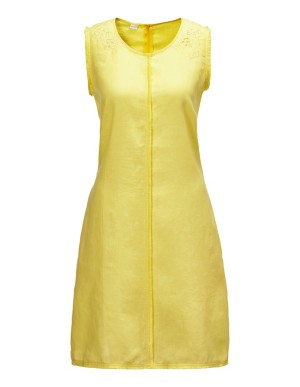 Linen dress with eyelet embroidery